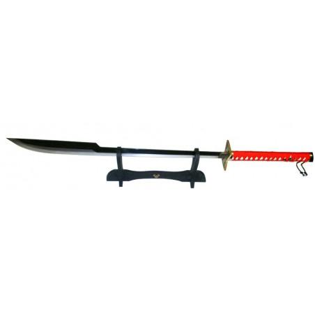 Sabre japonais blade tresse rouge 104 cm avec support
