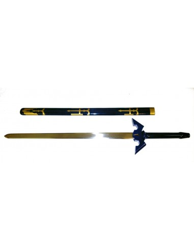 Sabre japonais blade manche bleu etui bleu et or