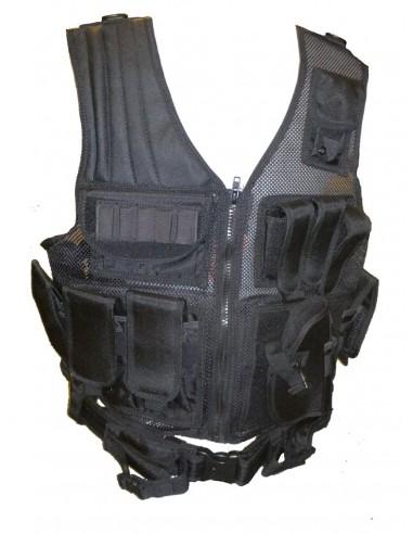 Veste tactical noir 8 poches holster ceinturon