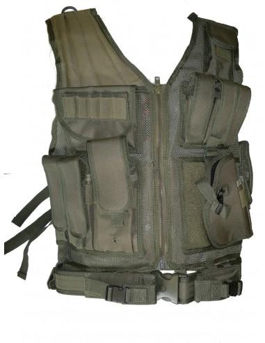 Veste tactical olive 8 poche holster + ceinturon