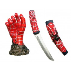 Couteau Spiderman Fourreau et Support Main