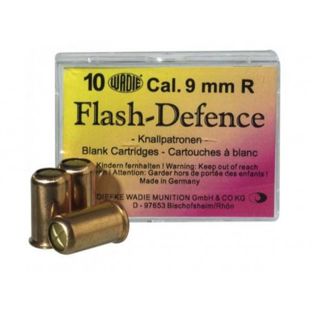 10 cartouches à blanc Flash Defense 9 mm Revolver
